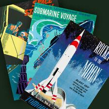 Disneyland Tomorrowland 3 Poster Prints Space Station Submarine Rocket Moon 3113