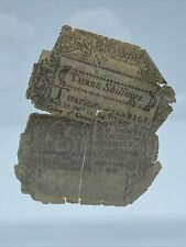 1776 Three Schilling Colonial Currency Note Bill! Rare