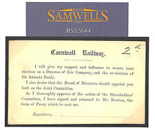 MS2644 QV GB CORNWALL RAILWAY ½d Postal Stationery Card Exeter Unused fault Rare