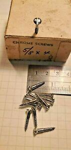 "Wood Screw #4 x 5/8"" Slotted Oval Head Chrome Vintage Hardware"