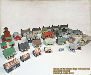 T Gauge 1:450 Buildings Pack -27 Buildings (Cover Stock PRE-CUT Paper Kits) RPT1
