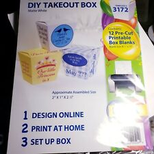 Zumibox Diy Takeout Box Matte White Ink Jet 12 Pre-Cut Blank Boxe #3172