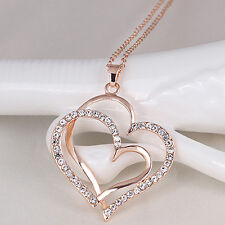 BL_ Girl Proper Double Love Heart Rhinestone Choker Chain Necklace Jewelry Gift