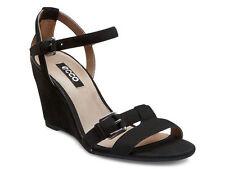 ECCO Ladies Black Nubuck Wedge Sandals Rivas 75 Size 39 £79