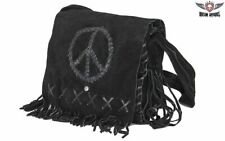 "Women's Genuine Black 12"" Suede Leather Purse With Peace Sign - Free Shipping"