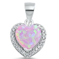 Pink Fire Opal Heart with CZ .925 Sterling Silver Pendant Necklace