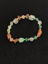 Artisan Green Nephrite Brown Clear Quartz Bead Stretch Bracelet
