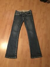 LA Idol Heavily Jeweled Studded Embroidered Boot Cut Denim Women's Jeans Size 7