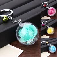 Women Key Chain Clear Flower Ball Pendant Keychain Keyring Bag Car Decor Holder