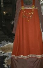 Sca Garb Norse Viking Dress Medieval Russet Linen Bld BrnCtn 2pc Apron Kirtle Xl