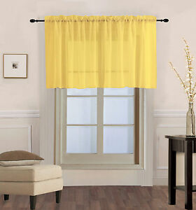 1PC Solid Voile Sheer Straight Window Valance Topper Waterfall Rod Pocket V16