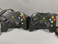 Official Original Xbox Type S Microsoft Black Controllers Lot of 2 OEM Tested