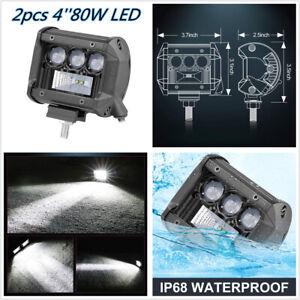 2pcs 4'' 80W LED Work Light Bar Spot Flood Adjustable Bracket For Car Truck Lamp
