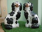 ANTIQUE 19thc PAIR OF STAFFORDSHIRE BLACK & WHITE SPANIEL DOGS No.2 C.1860's