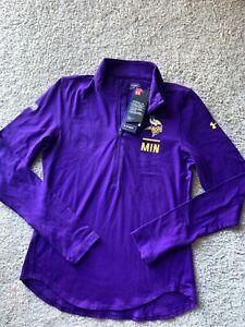 Under Armour Minnesota Vikings NFL Combine Tech 1/4 Zip LS Shirt Womens Sm B38