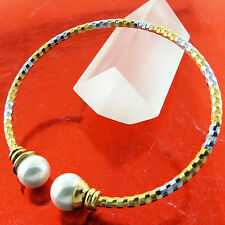 BANGLE BRACELET GENUINE REAL 18K MULTI-TONE G/F GOLD SOLID PEARL CUFF DESIGN
