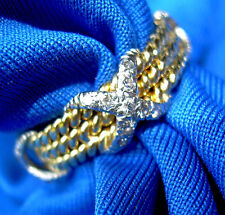 Tiffany Schlumberger band 18K Platinum Rope 3 row X Ring anniversary diamonds