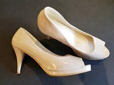Fiore size 6 (39) nude faux patent leather peeptoe platform slim heel court shoe