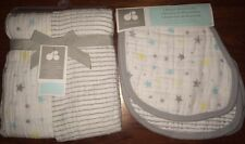 NEW 4-PC Newborn Baby Muslin Swaddle Blankets (2) & Burp Cloths (2) by JUST BORN