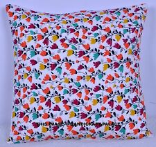 Indian White Floral Cotton Throw Pillow Case Back Cushion Cover Sofa Decor 40 Cm