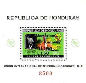 HONDURAS 1968 in MEMORIAM JFK KENNEDY S/S overprinted MNH SPACE