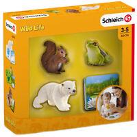 Schleich Wild Life Flash Cards with Polar Bear Cub, Frog & Red Squirrel Figures