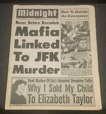 1973 Tabloid JFK Assassination John F Kennedy Liz Taylor Ida Lupino newspaper