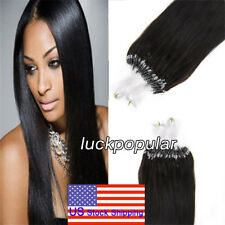 Micro Ring Beads Loop Tip Remy Human Hair Extensions NaturalBlack 16Inch1g/s 50S