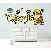 PAW PATROL RUBBLE PERSONALISED WALL STICKER children's bedroom decal art graphic