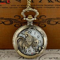 Antique Bronze Animal Pendant Vintage Pocket Watch Quartz Necklace Chain Retro