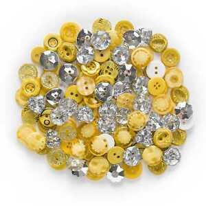 30 Gram Yellow Resin Buttons Sewing Scrapbooking Handwork Craft Decor 12-15mm