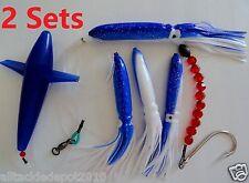 2 Sets Daisy Chain Bait Rig Bird  Tuna Marlin Fishing Trolling Lures Souid -Blue