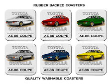 TOYOTA  AE-86  COROLLA  COUPE  AE86       SET OF 6  RUBBER DRINK  COASTERS