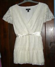 Layered Ivory Lace Top With Ribboned Waist Size XL