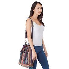 Eco Natural New Boho Cotton Messenger Crossbody Bucket Bag Purse W Lining-90375