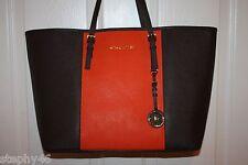 NEW! NWT Michael Kors JET SET Coffee Brown Orange Center Stripe Lg Tote Bag $298