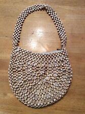 Vintage WOOD Beaded Semi-circle Lined BAG Handbag
