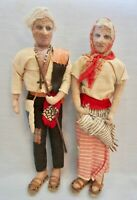 "Unique Vintage Man & Woman Peasant or Gypsy Dolls, Hand made, 14"" Tall"
