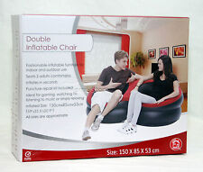 INFLATABLE FLOCKED GAMING CHAIR SOFA SEAT LOUNGER CAMPING RELAXING DOUBLE RED