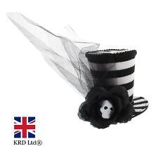 Halloween STRIPED TOP HAT FASCINATOR With Skull Centered Rose & Veil ZHF031 UK