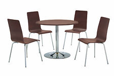 Dining Kitchen Table Set Round Top Four Chairs Chrome Frame - Walnut Finish