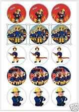 """15 x 2"""" FIREMAN SAM PRE CUT ICING Cup Cake Toppers Decorations"""
