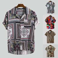 Mens Retro Ethnic Printed Turn Down Collar Short Sleeve Baggy Casual Comfy Shirt