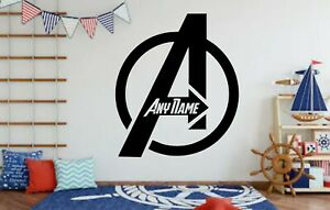 Custom Avengers Logo Sticker Wall Bedroom Decor Add Any Name