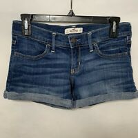Hollister Womens Junior Jean Shorts Cuffed Blue Denim Size 3 Waist 26 EUC