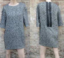 ASOS WOOL COTTON BLEND HERRINGBONE SHIFT FORMAL OFFICE TAILORED DRESS UK10