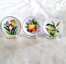 """Set of 3 adorable teeny, tiny Japanese collector plates; 2.25"""" tall x 2"""" wide"""