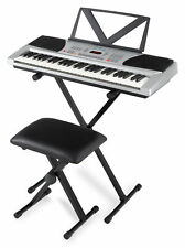 Digital 54 Tasten Keyboard E-Piano Set X-Ständer Hocker Lernfunktionen silber