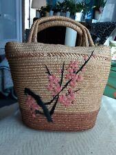 VTG Straw Summer Beach Shopping PURSE TOTE BAG Vinyl Lined Pink Floral Design