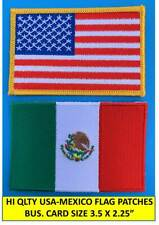 """AMERICAN FLAG & MEXICAN FLAG EMBROIDERED PATCH IRON-ON SEW-ON MEXICO  (3½ x 2¼"""")"""